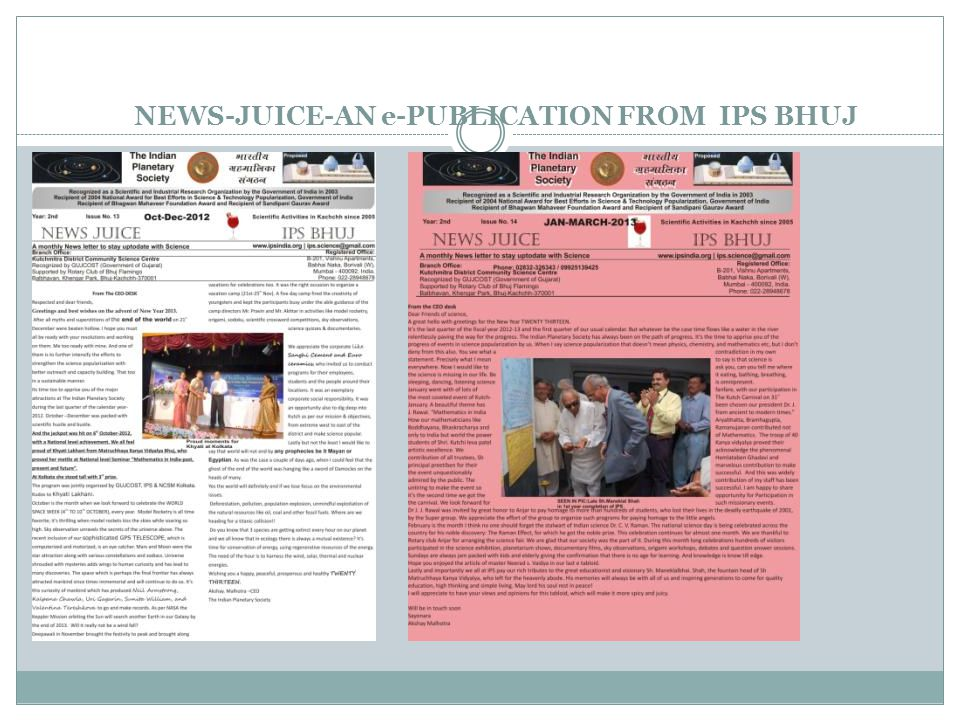NEWS-JUICE-AN e-PUBLICATION FROM IPS BHUJ