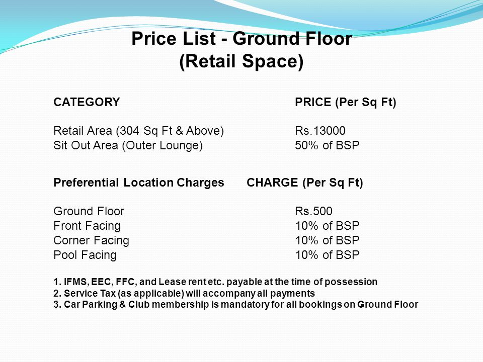 Price List - Ground Floor (Retail Space) CATEGORY PRICE (Per Sq Ft) Retail Area (304 Sq Ft & Above) Rs.13000 Sit Out Area (Outer Lounge) 50% of BSP Pr