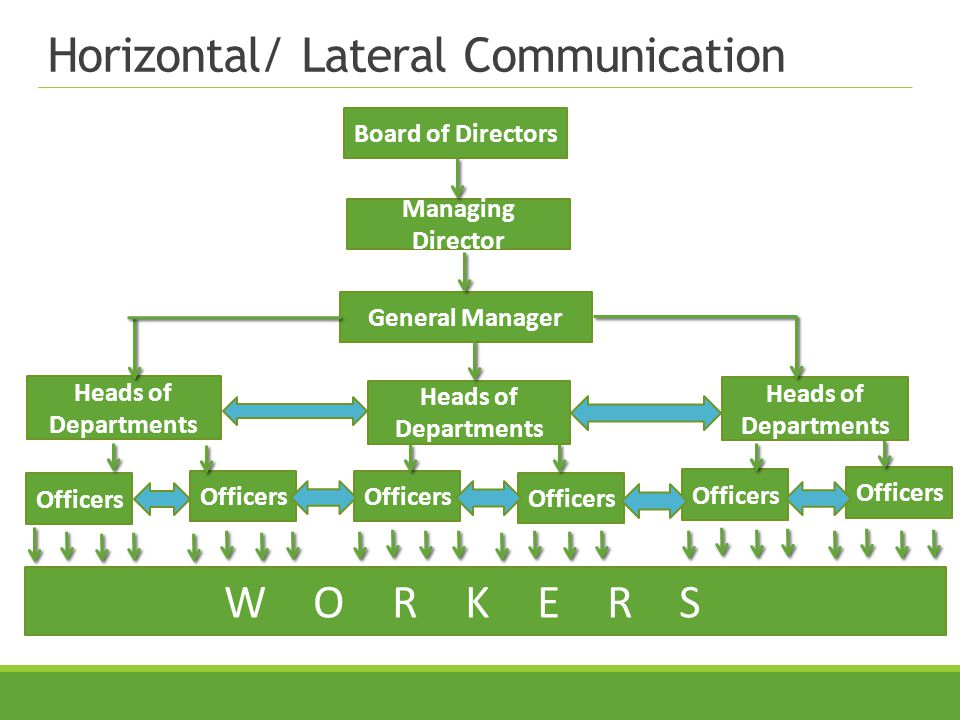 Horizontal/ Lateral Communication Board of Directors Managing Director General Manager Heads of Departments Officers WORKERS