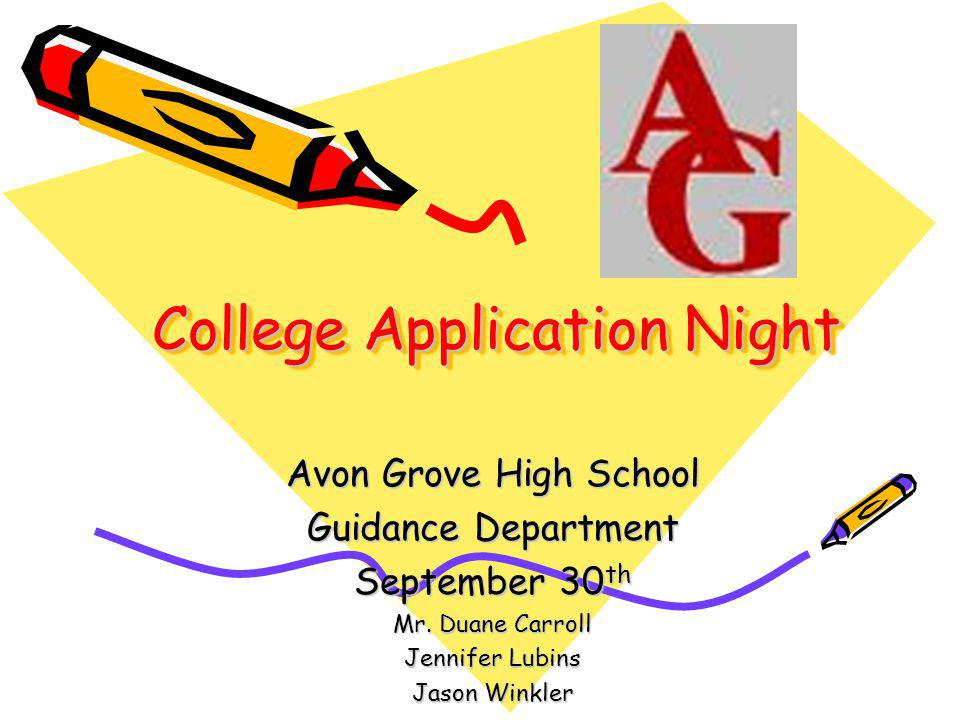 College Application Night Avon Grove High School Guidance Department September 30 th Mr.