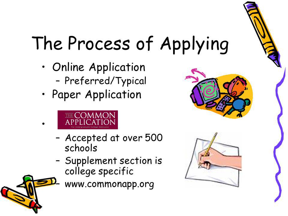 The Process of Applying Online Application –Preferred/Typical Paper Application –Accepted at over 500 schools –Supplement section is college specific –www.commonapp.org