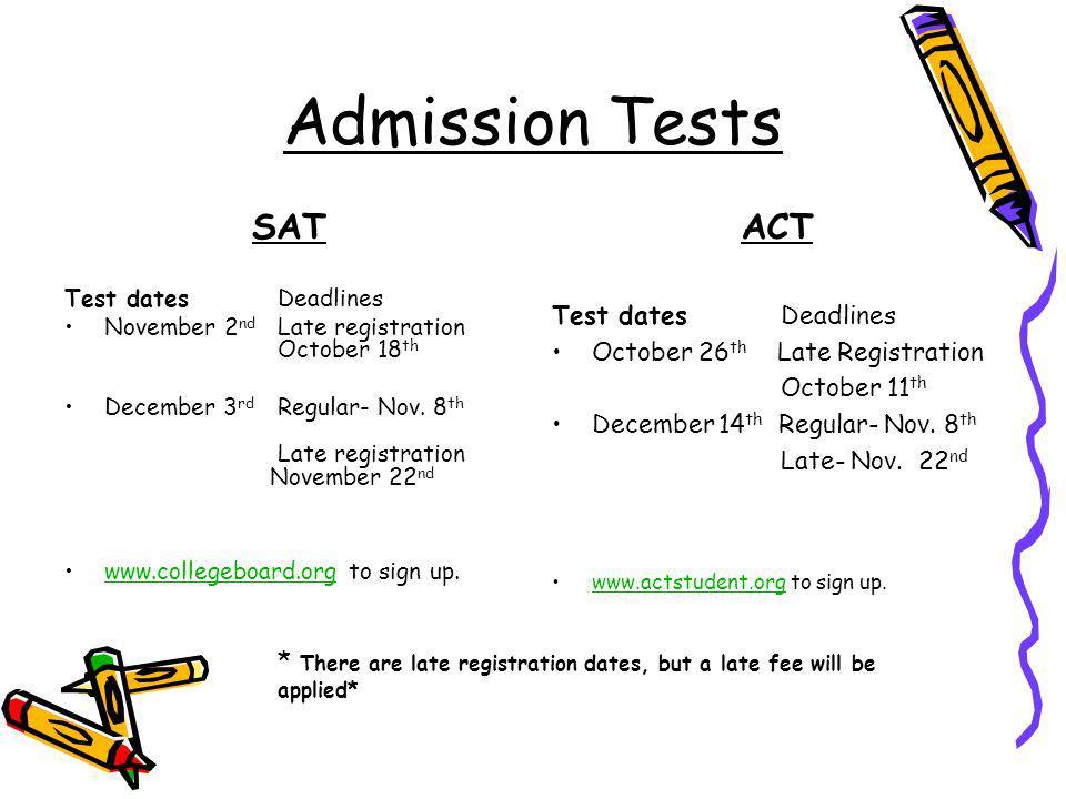 Admission Tests SATACT Test dates Deadlines November 2 nd Late registration October 18 th December 3 rd Regular- Nov.