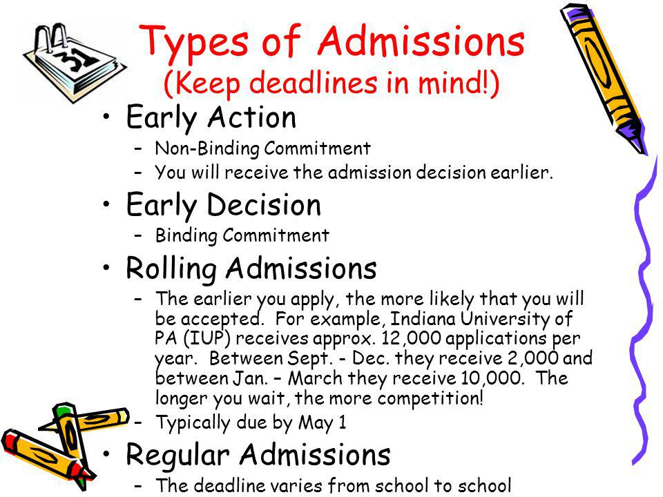 Types of Admissions (Keep deadlines in mind!) Early Action –Non-Binding Commitment –You will receive the admission decision earlier.