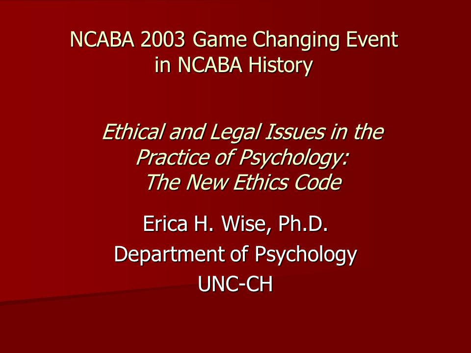 NCABA 2003 Game Changing Event in NCABA History Erica H.