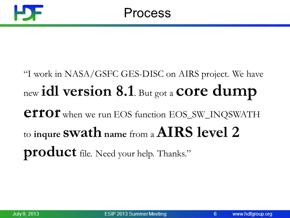 www.hdfgroup.org Process ESIP 2013 Summer Meeting6July 9, 2013 I work in NASA/GSFC GES-DISC on AIRS project.
