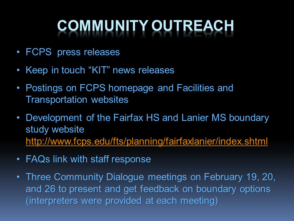 FCPS press releasesFCPS press releases Keep in touch KIT news releasesKeep in touch KIT news releases Postings on FCPS homepage and Facilities and Tra