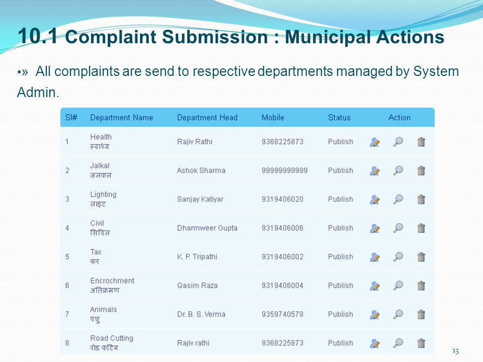 10.1 Complaint Submission : Municipal Actions » All complaints are send to respective departments managed by System Admin. 13