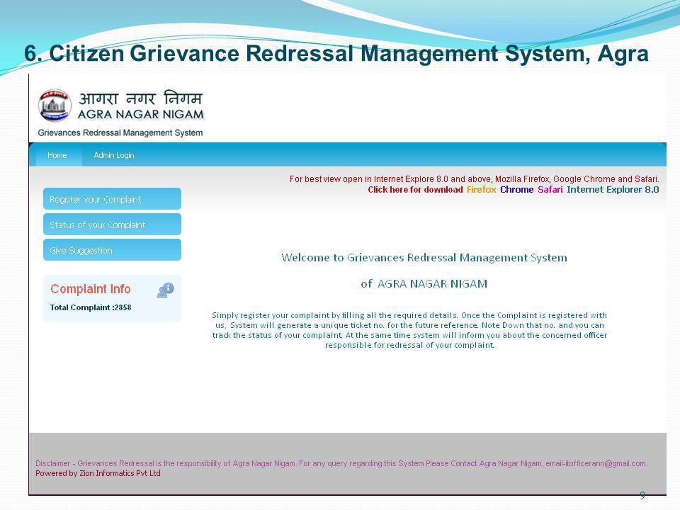 6. Citizen Grievance Redressal Management System, Agra 9