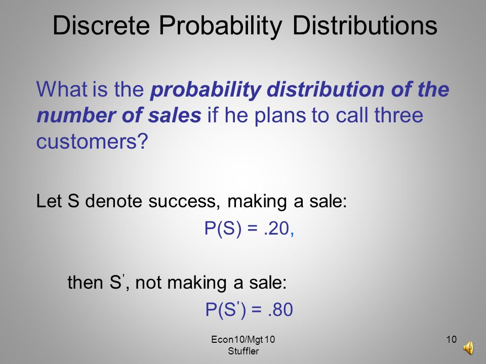 Econ10/Mgt 10 Stuffler 9 Discrete Probability Distributions Assume a mutual fund salesman knows that there is 20% chance of closing a sale on each cal