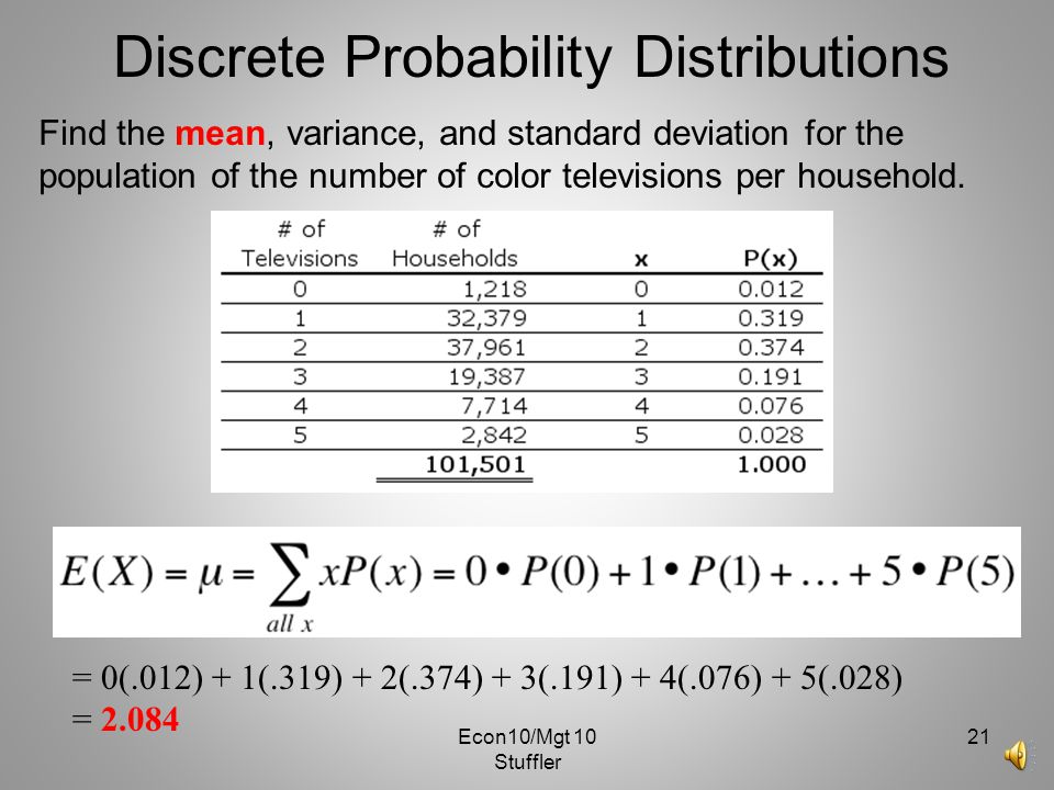 Econ10/Mgt 10 Stuffler 20 Discrete Probability Distributions Population variance - weighted average of the squared deviations from the mean. Short cut
