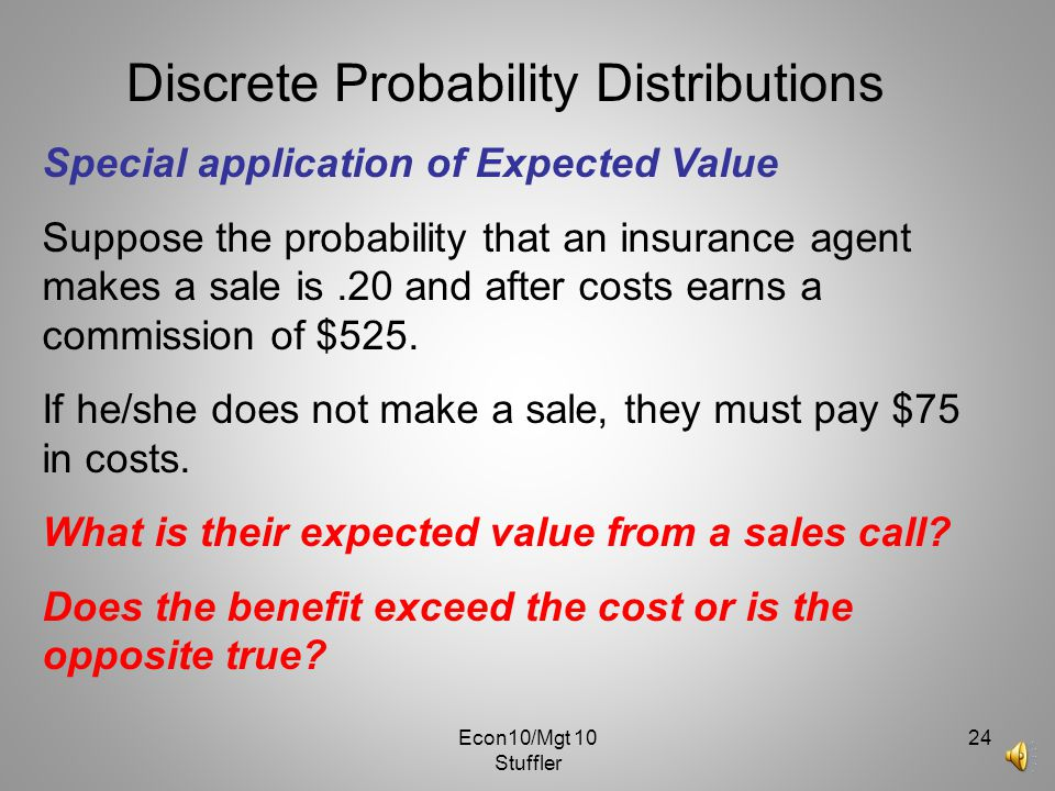 Econ10/Mgt 10 Stuffler 23 Discrete Probability Distributions Find the mean, variance, and standard deviation for the population of the number of color