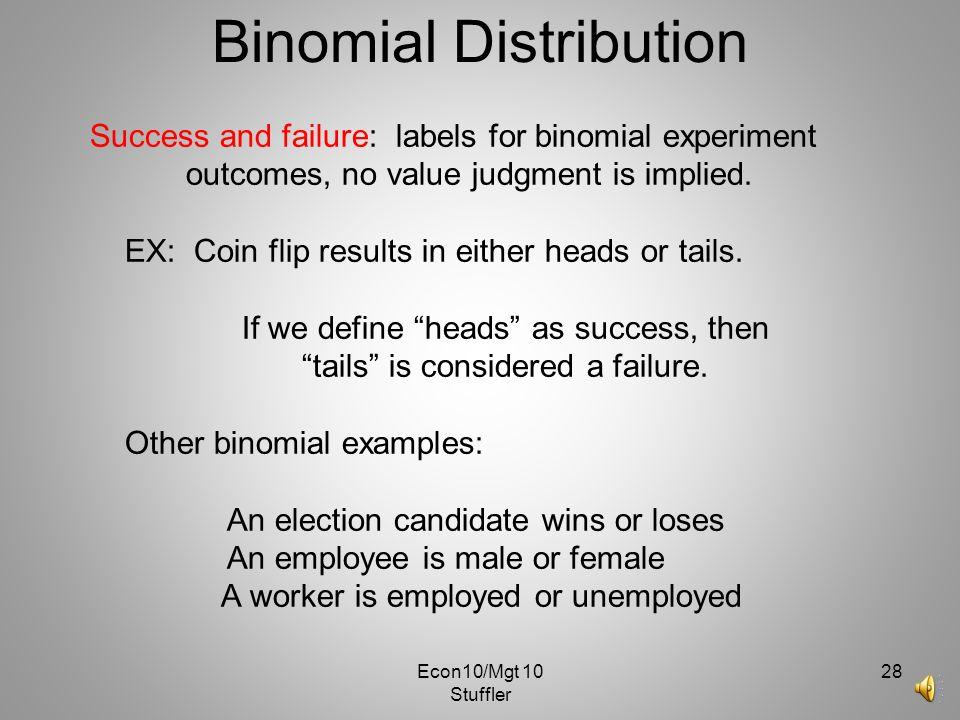 Econ10/Mgt 10 Stuffler 27 Several Binomial Distributions