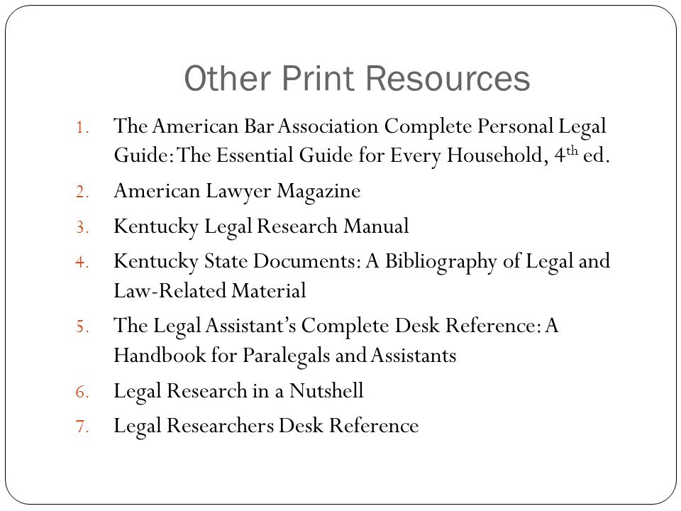 Other Print Resources 1.