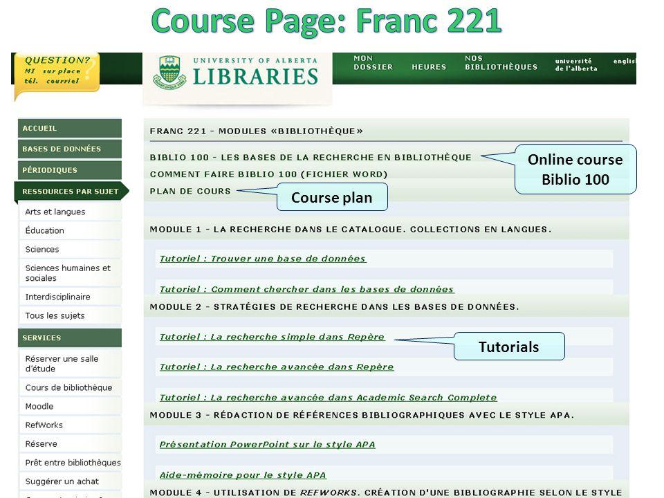 Tutorials Online course Biblio 100 Course plan