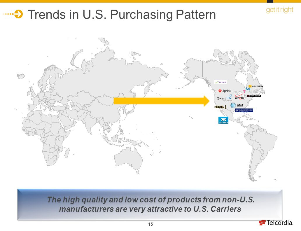 15 Trends in U.S. Purchasing Pattern The high quality and low cost of products from non-U.S. manufacturers are very attractive to U.S. Carriers