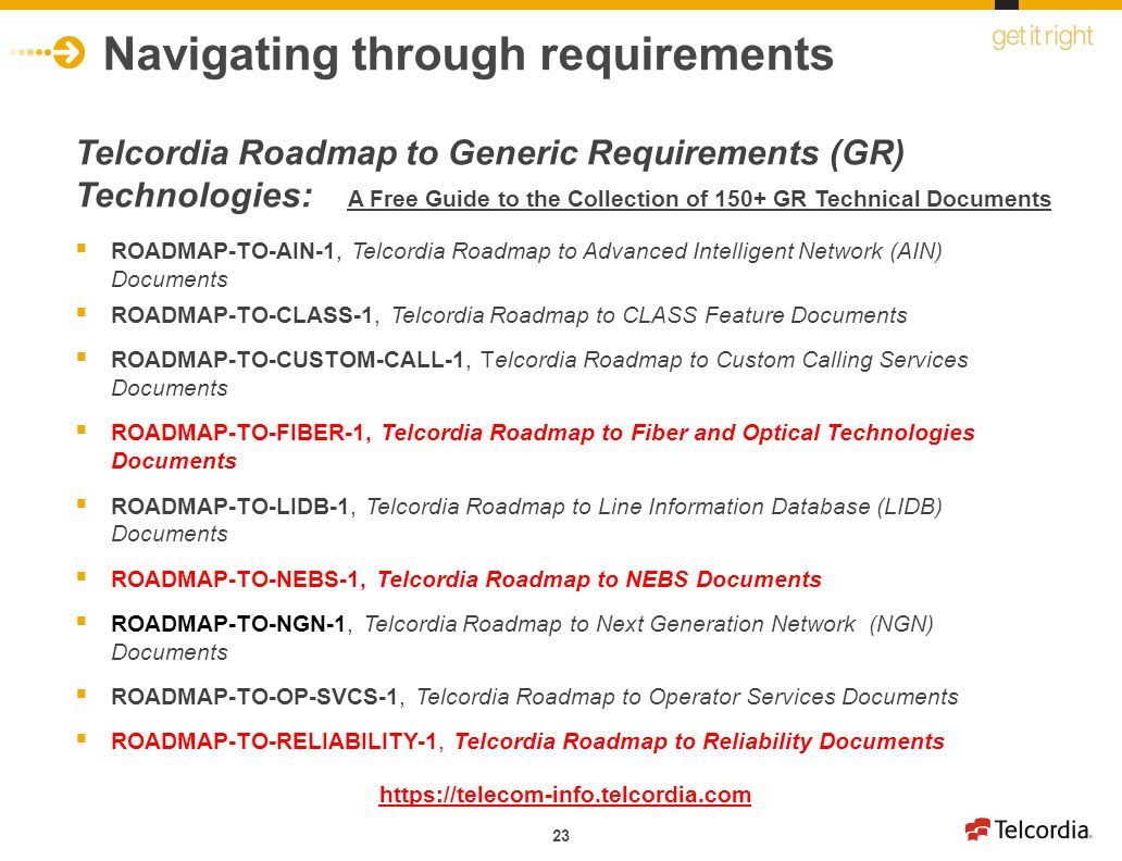 23 Navigating through requirements Telcordia Roadmap to Generic Requirements (GR) Technologies: A Free Guide to the Collection of 150+ GR Technical Do