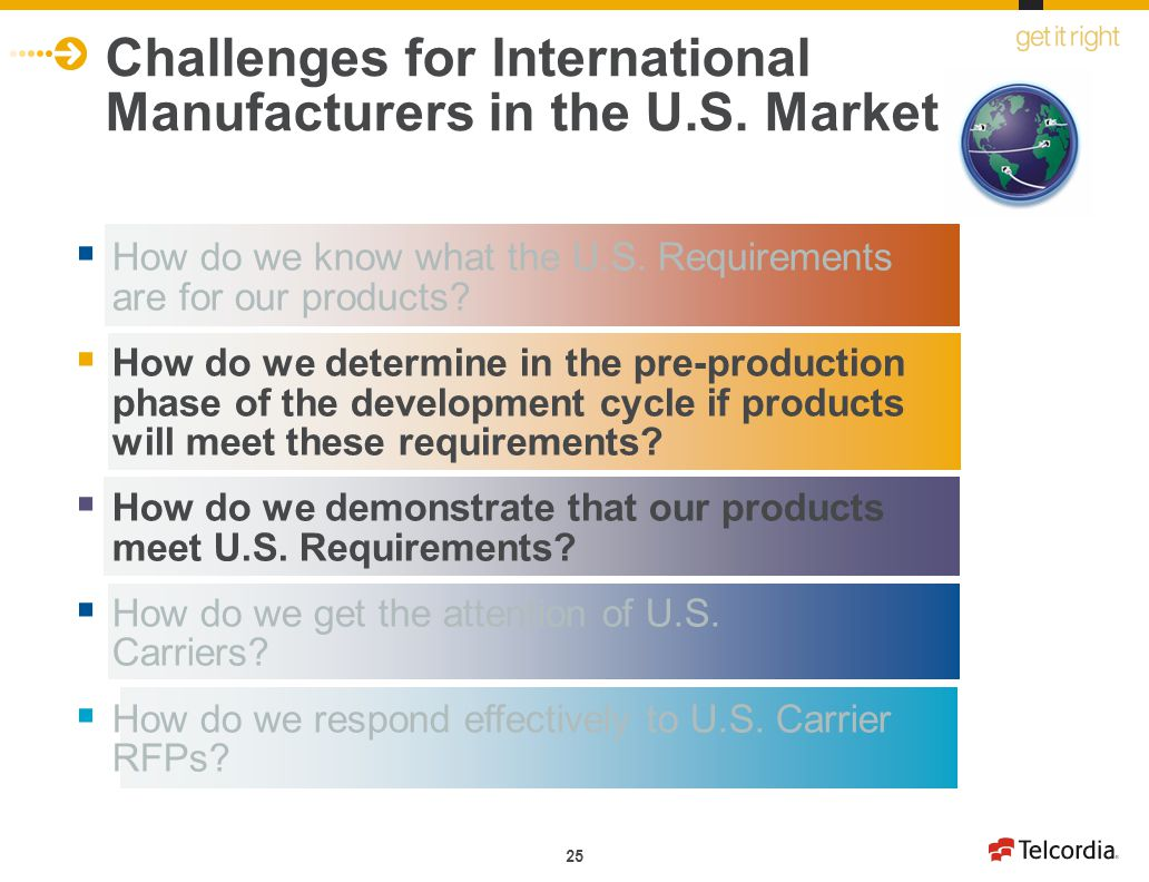 25 How do we know what the U.S. Requirements are for our products? How do we determine in the pre-production phase of the development cycle if product