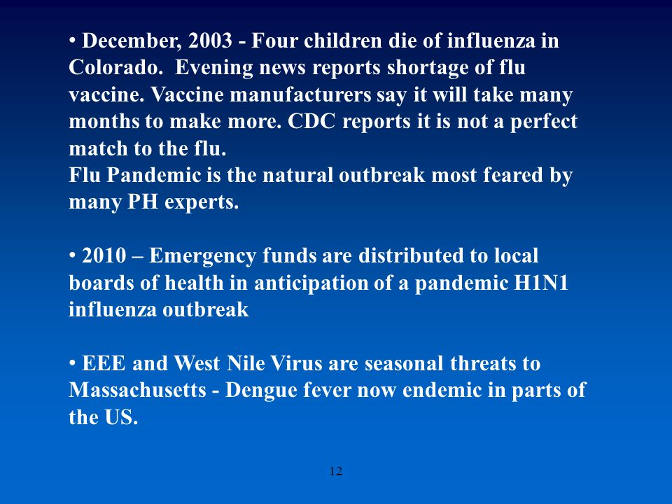 12 December, 2003 - Four children die of influenza in Colorado.