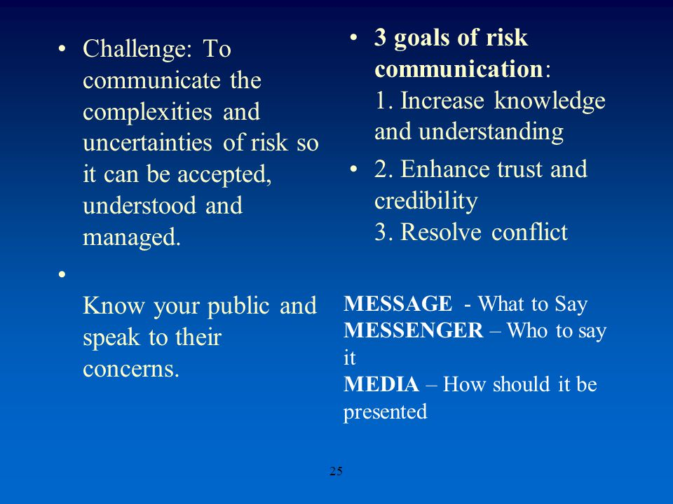 Challenge: To communicate the complexities and uncertainties of risk so it can be accepted, understood and managed.