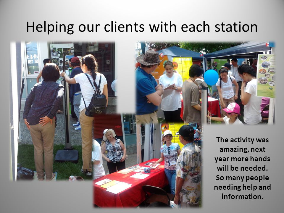 Helping our clients with each station The activity was amazing, next year more hands will be needed. So many people needing help and information.