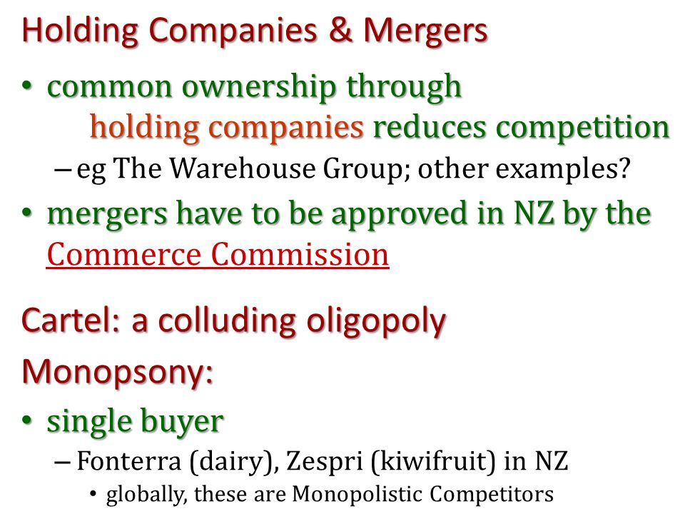 Holding Companies & Mergers common ownership through holding companies reduces competition common ownership through holding companies reduces competit