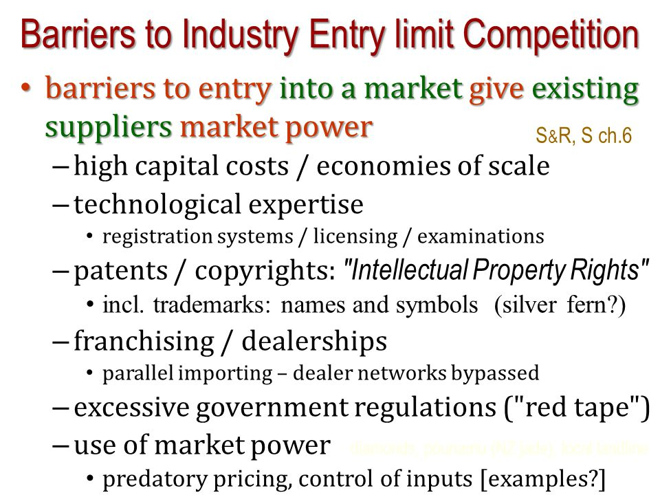 barriers to entry into a market give existing suppliers market power barriers to entry into a market give existing suppliers market power – high capit