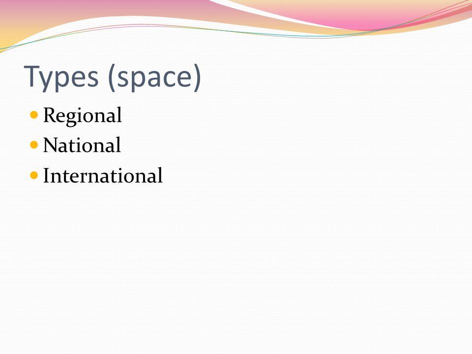 Types (space) Regional National International