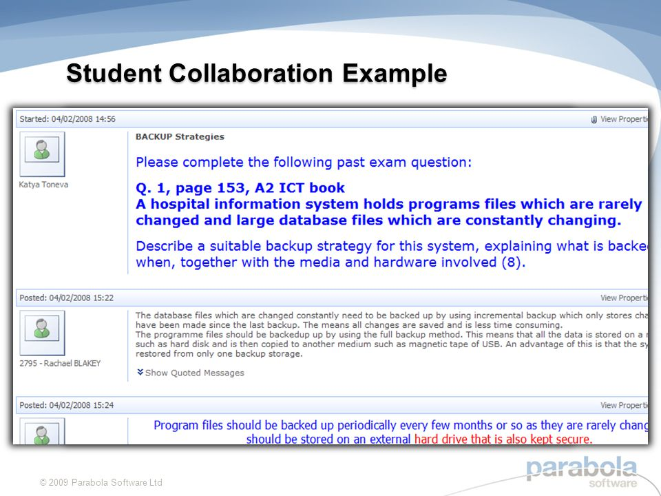 Student Collaboration Example © 2009 Parabola Software Ltd