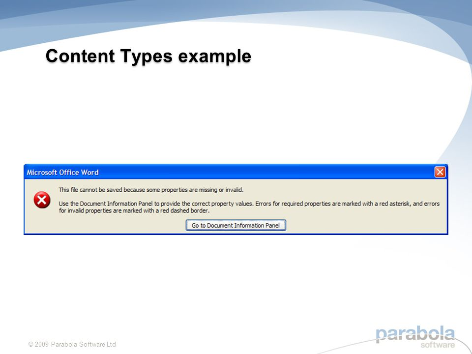 Content Types example © 2009 Parabola Software Ltd