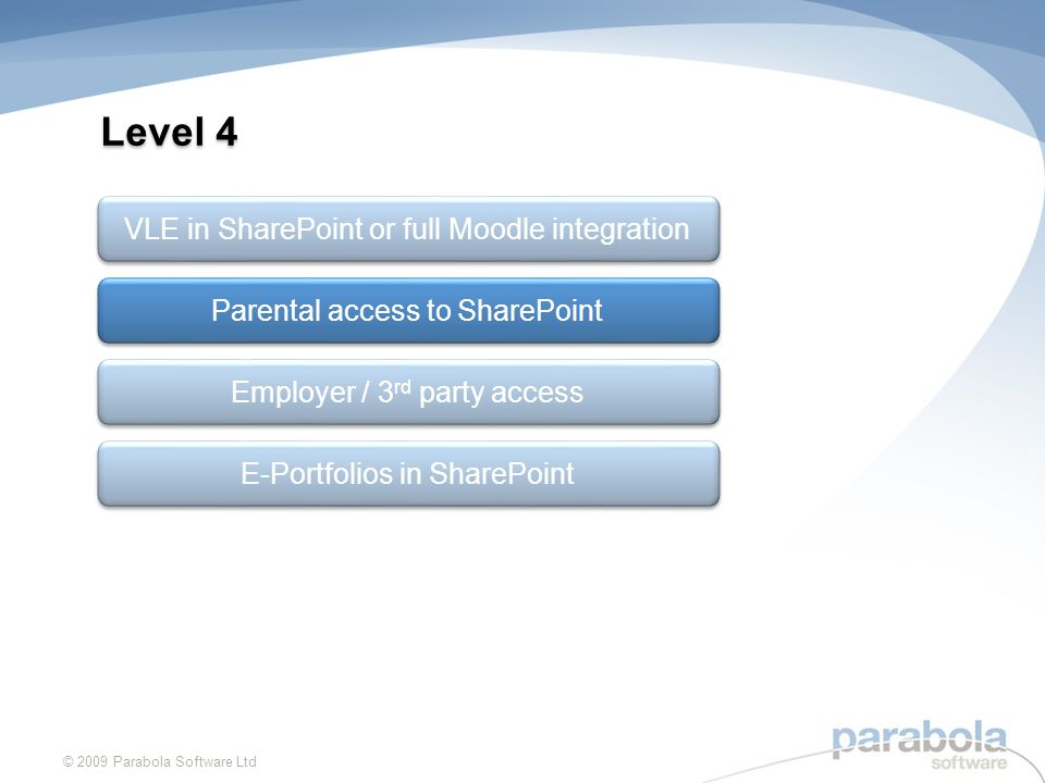 Level 4 © 2009 Parabola Software Ltd Parental access to SharePoint Employer / 3 rd party access VLE in SharePoint or full Moodle integration E-Portfolios in SharePoint