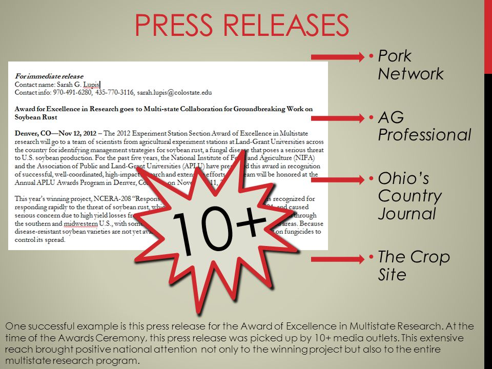 10+ Pork Network AG Professional Ohios Country Journal The Crop Site PRESS RELEASES One successful example is this press release for the Award of Excellence in Multistate Research.