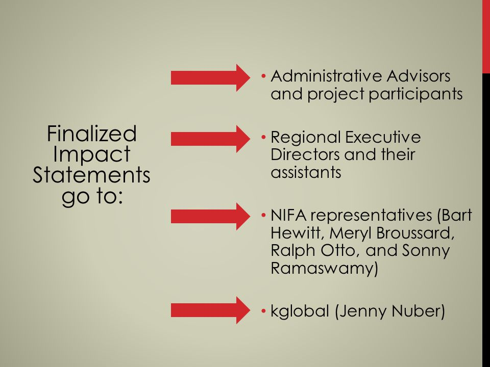 Finalized Impact Statements go to: Administrative Advisors and project participants Regional Executive Directors and their assistants NIFA representat