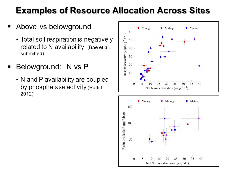 Examples of Resource Allocation Across Sites Above vs belowground Total soil respiration is negatively related to N availability (Bae et al. submitted