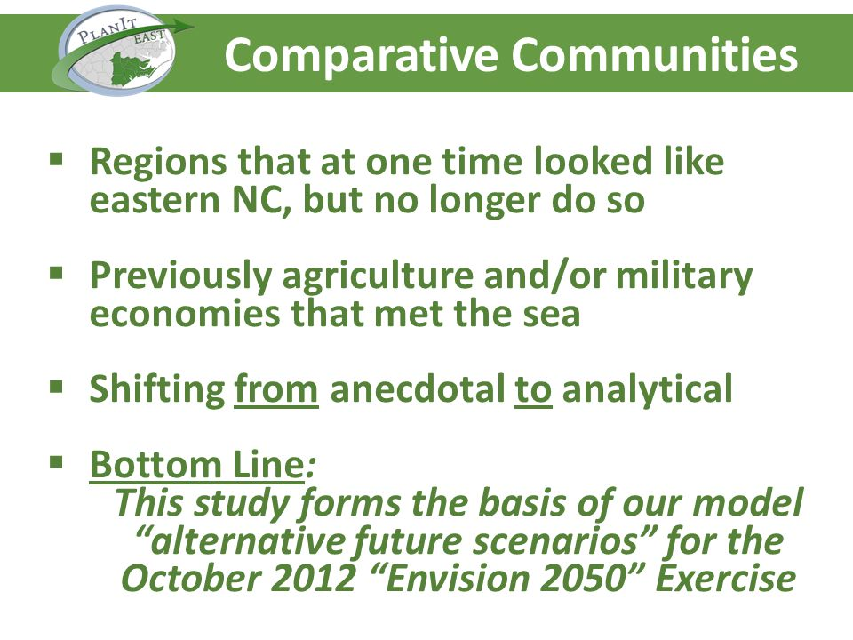 Agenda – Day One Comparative Communities Regions that at one time looked like eastern NC, but no longer do so Previously agriculture and/or military e