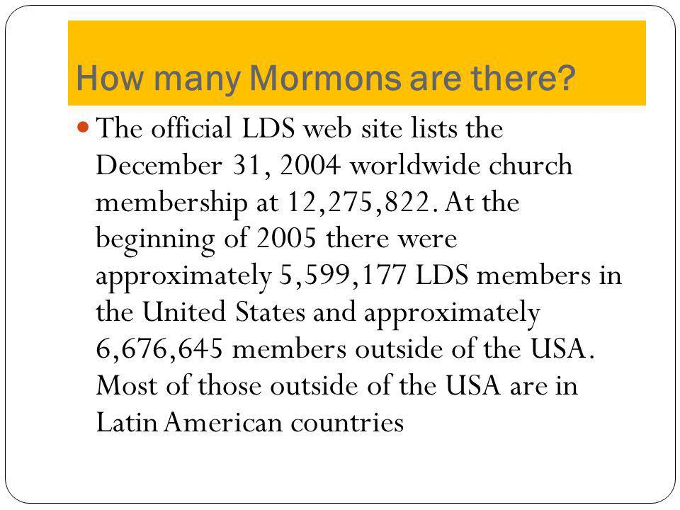 How many Mormons are there.