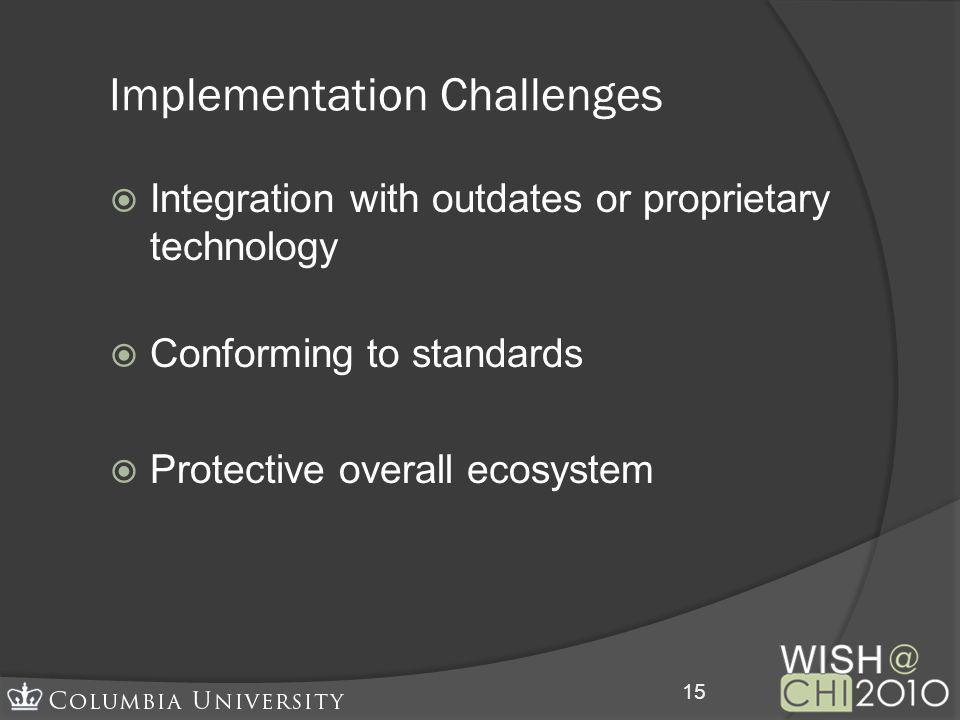 Implementation Challenges Integration with outdates or proprietary technology Conforming to standards Protective overall ecosystem 15