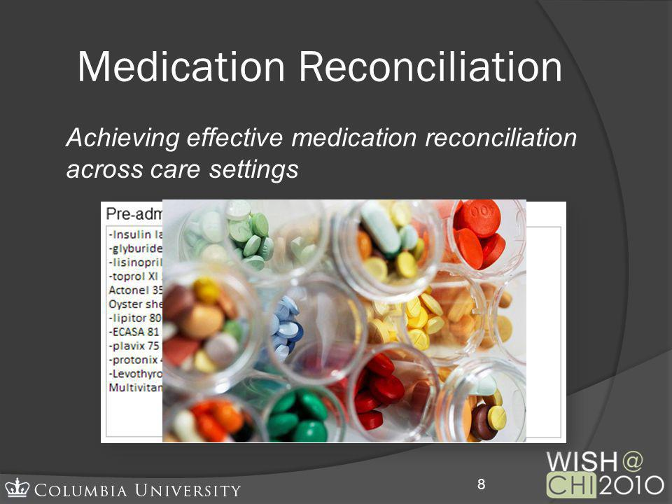 Medication Reconciliation Achieving effective medication reconciliation across care settings 8