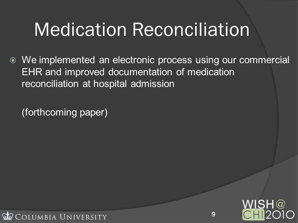 We implemented an electronic process using our commercial EHR and improved documentation of medication reconciliation at hospital admission (forthcomi