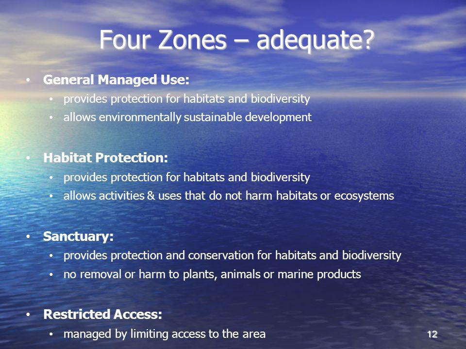 Four Zones – adequate.Four Zones – adequate.