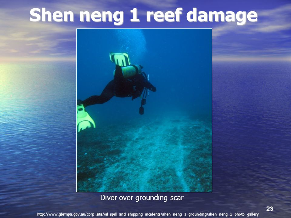 23 Shen neng 1 reef damage Diver over grounding scar http://www.gbrmpa.gov.au/corp_site/oil_spill_and_shipping_incidents/shen_neng_1_grounding/shen_ne