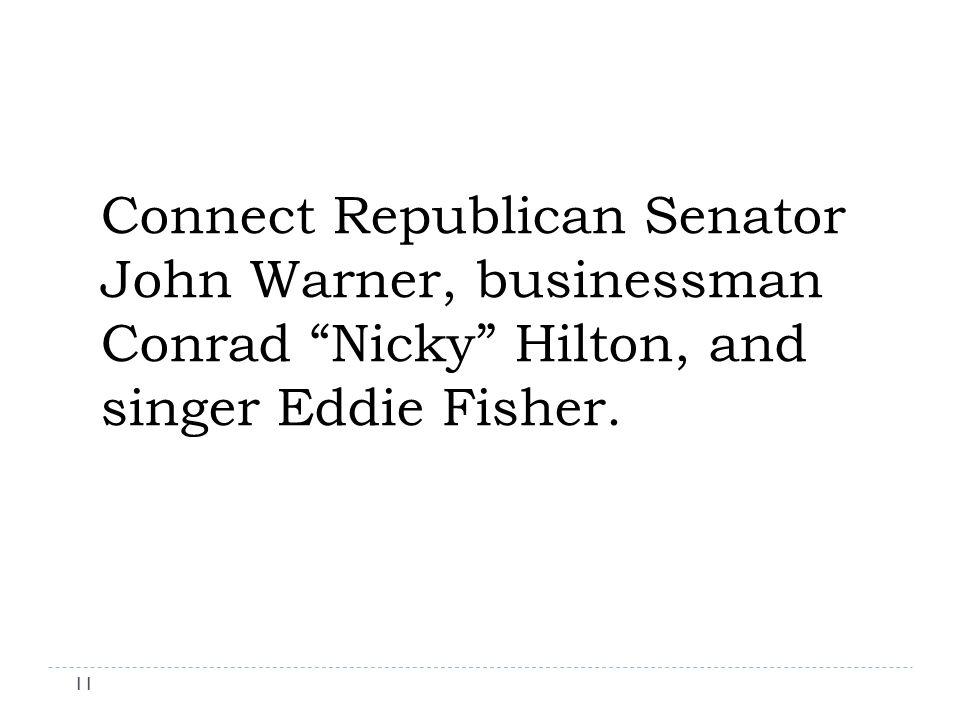 Connect Republican Senator John Warner, businessman Conrad Nicky Hilton, and singer Eddie Fisher.