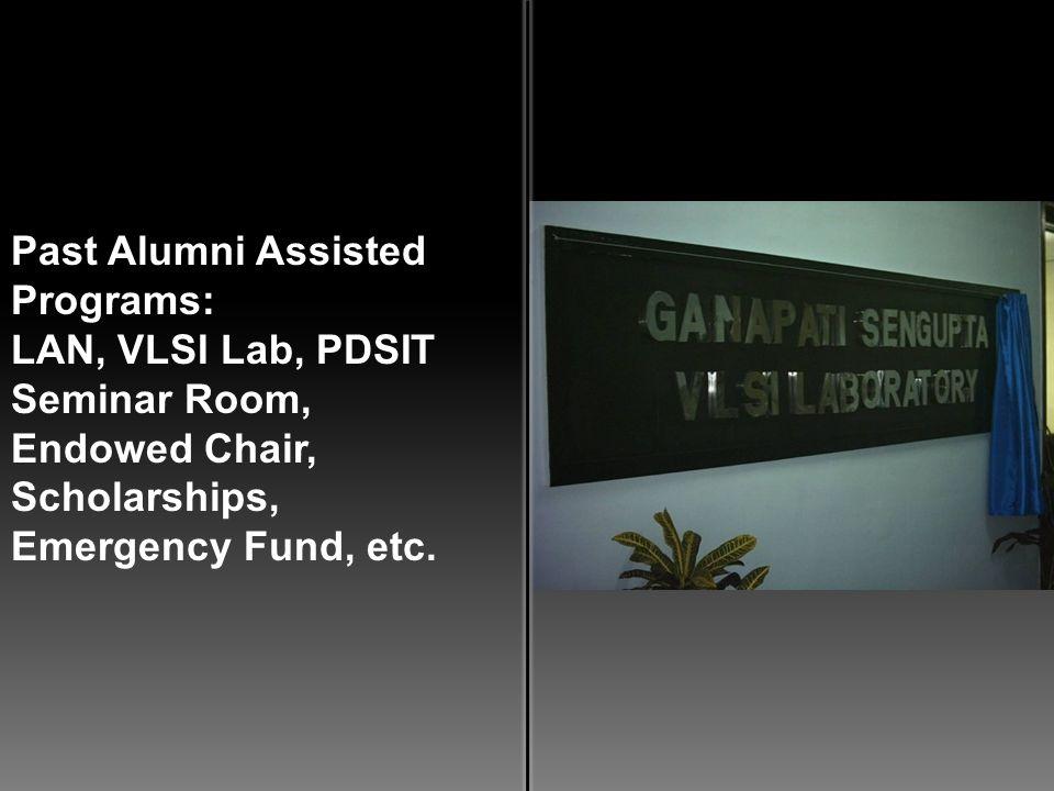 Past Alumni Assisted Programs: LAN, VLSI Lab, PDSIT Seminar Room, Endowed Chair, Scholarships, Emergency Fund, etc.