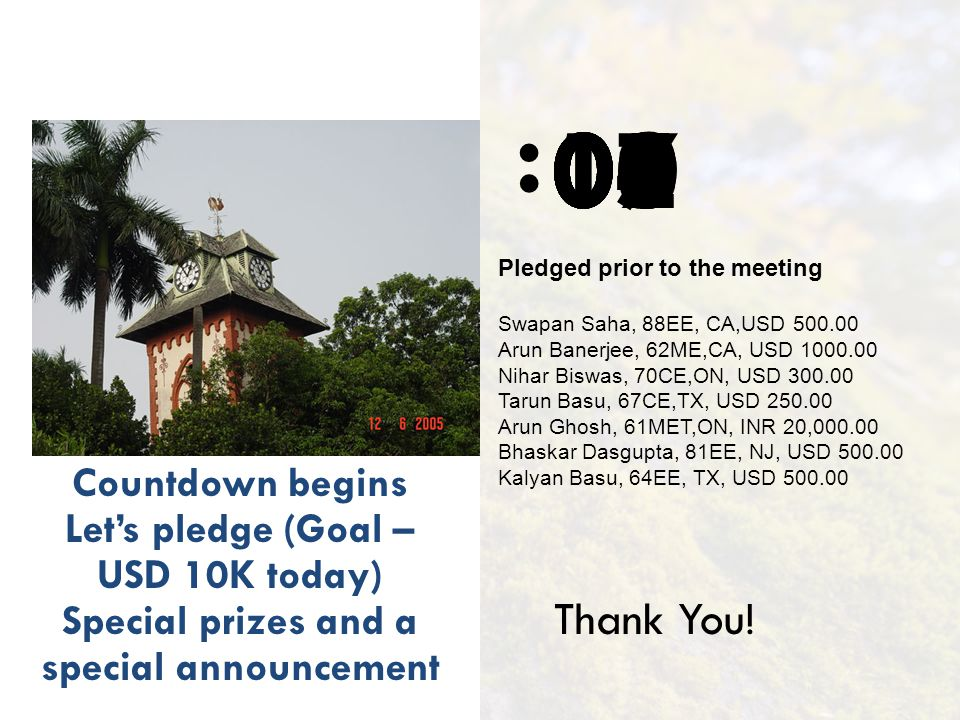 : Countdown begins Lets pledge (Goal – USD 10K today) Special prizes and a special announcement 1009080706050403020100 Thank You! Pledged prior to the