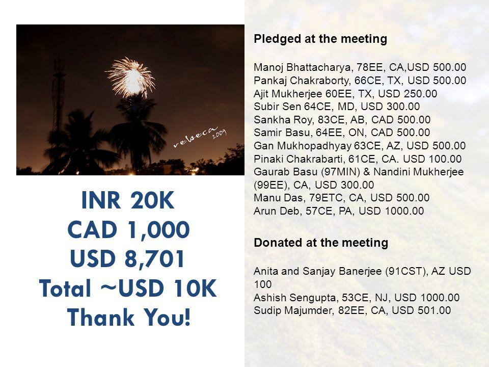 INR 20K CAD 1,000 USD 8,701 Total ~USD 10K Thank You! Pledged at the meeting Manoj Bhattacharya, 78EE, CA,USD 500.00 Pankaj Chakraborty, 66CE, TX, USD