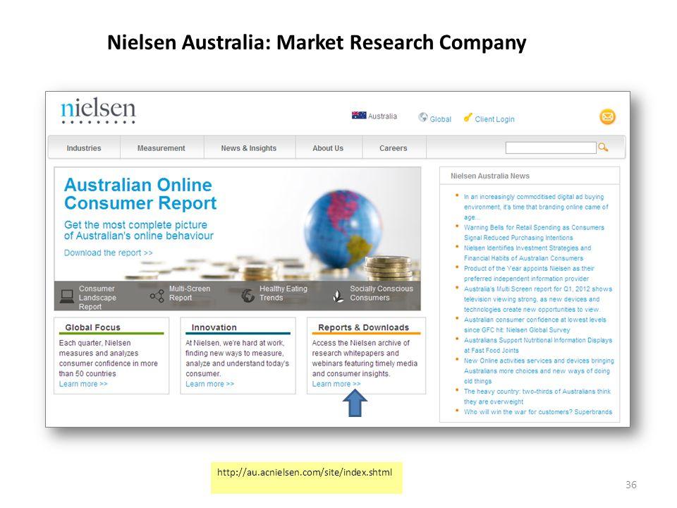 Nielsen Australia: Market Research Company -News & Reports- 36 http://au.acnielsen.com/site/index.shtml