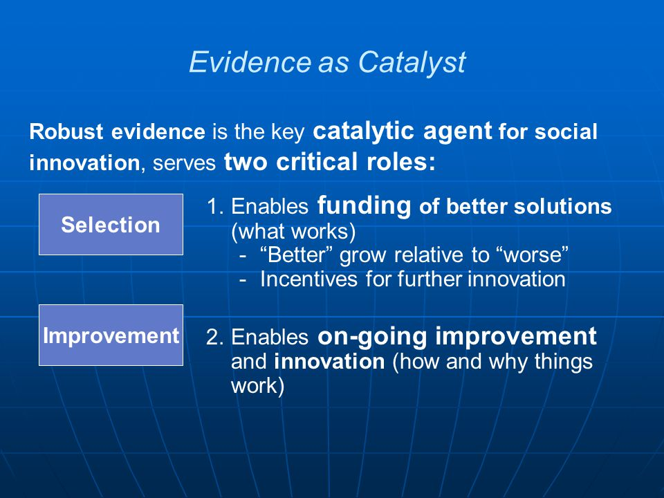 Robust evidence is the key catalytic agent for social innovation, serves two critical roles: Evidence as Catalyst Improvement Selection 1.Enables fund