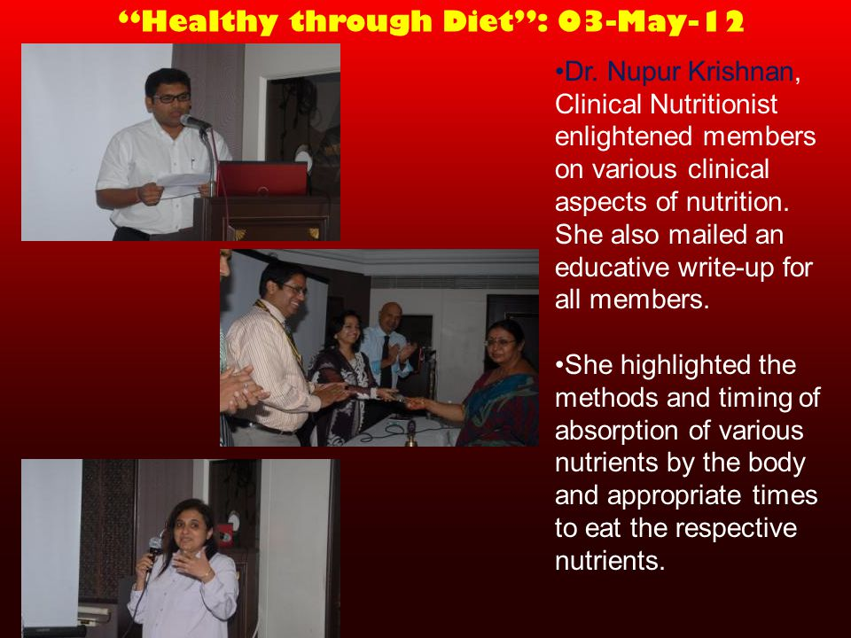 Healthy through Diet: 03-May-12 Dr.