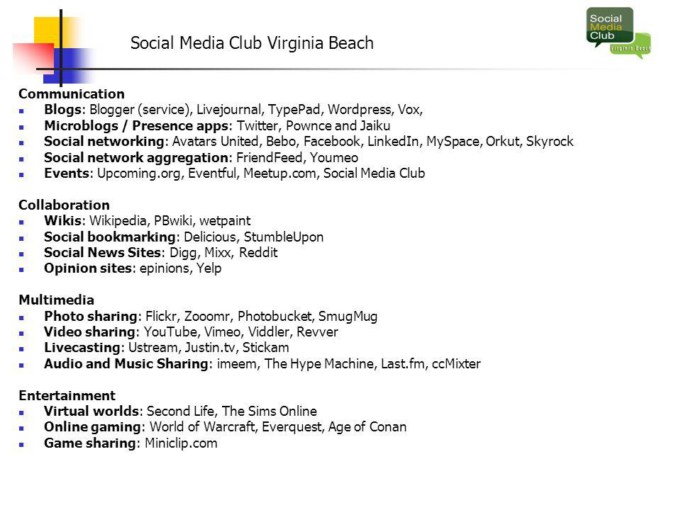 Social Media Club Virginia Beach Communication Blogs: Blogger (service), Livejournal, TypePad, Wordpress, Vox, Microblogs / Presence apps: Twitter, Pownce and Jaiku Social networking: Avatars United, Bebo, Facebook, LinkedIn, MySpace, Orkut, Skyrock Social network aggregation: FriendFeed, Youmeo Events: Upcoming.org, Eventful, Meetup.com, Social Media Club Collaboration Wikis: Wikipedia, PBwiki, wetpaint Social bookmarking: Delicious, StumbleUpon Social News Sites: Digg, Mixx, Reddit Opinion sites: epinions, Yelp Multimedia Photo sharing: Flickr, Zooomr, Photobucket, SmugMug Video sharing: YouTube, Vimeo, Viddler, Revver Livecasting: Ustream, Justin.tv, Stickam Audio and Music Sharing: imeem, The Hype Machine, Last.fm, ccMixter Entertainment Virtual worlds: Second Life, The Sims Online Online gaming: World of Warcraft, Everquest, Age of Conan Game sharing: Miniclip.com