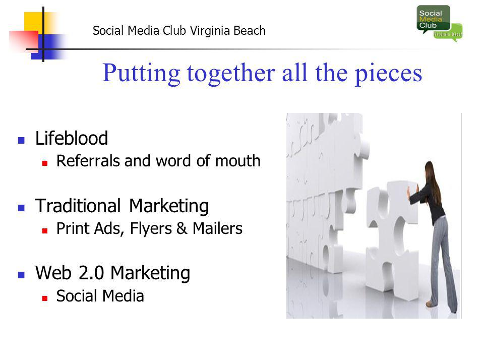 Social Media Club Virginia Beach Putting together all the pieces Lifeblood Referrals and word of mouth Traditional Marketing Print Ads, Flyers & Mailers Web 2.0 Marketing Social Media
