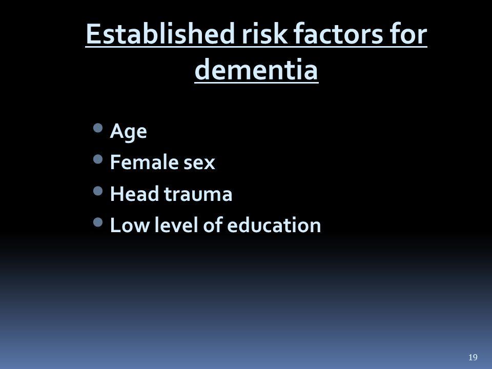 19 Established risk factors for dementia Age Female sex Head trauma Low level of education